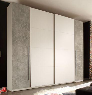 21278 Schwebetürenschrank 270 cm Weiß / Beton – Bild 1