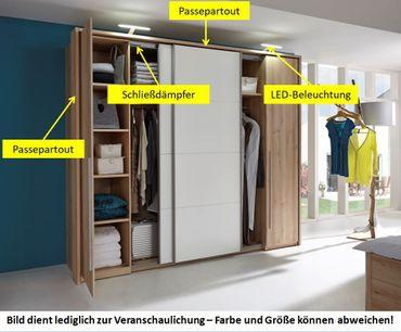 21280 Schwebetürenschrank 315 cm Edelbuche / Weiß – Bild 2