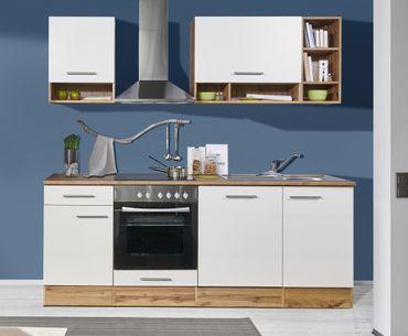 Mavan 220 Küchenzeile Küchenblock Weiss Wildeiche  – Bild 1