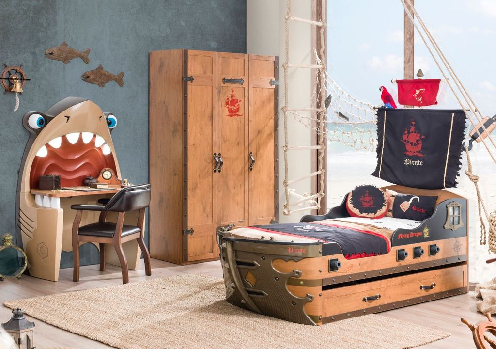Cilek pirate 11 kinderzimmer set komplettset kinder spielzimmer piraten braun kids teens for Kinderzimmer komplettset