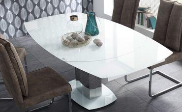 21703 Esstisch ausziehbar Ø 130-190 Super White Glas / Edelstahl – Bild 1