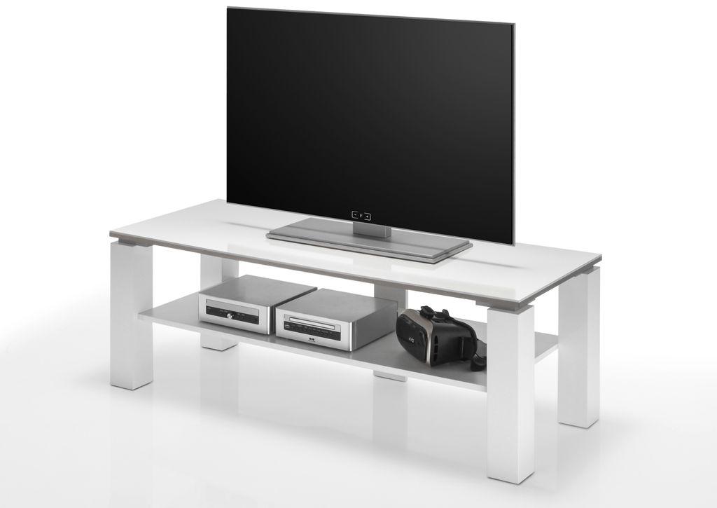 21768 tv lowboard mit ablagefach 120 cm wei sch ner wohnen tv m bel. Black Bedroom Furniture Sets. Home Design Ideas
