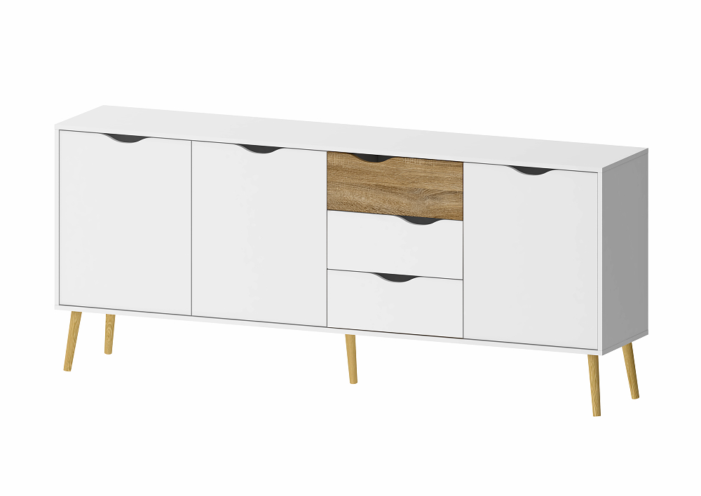 sideboard oslo wei eiche struktur sch ner wohnen sideboards highboards sideboards. Black Bedroom Furniture Sets. Home Design Ideas