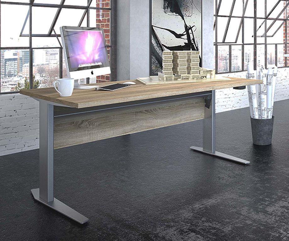 Prima Schreibtisch elektrisch höhenverstellbar 150 x 80 cm Eiche Struktur, Motortisch