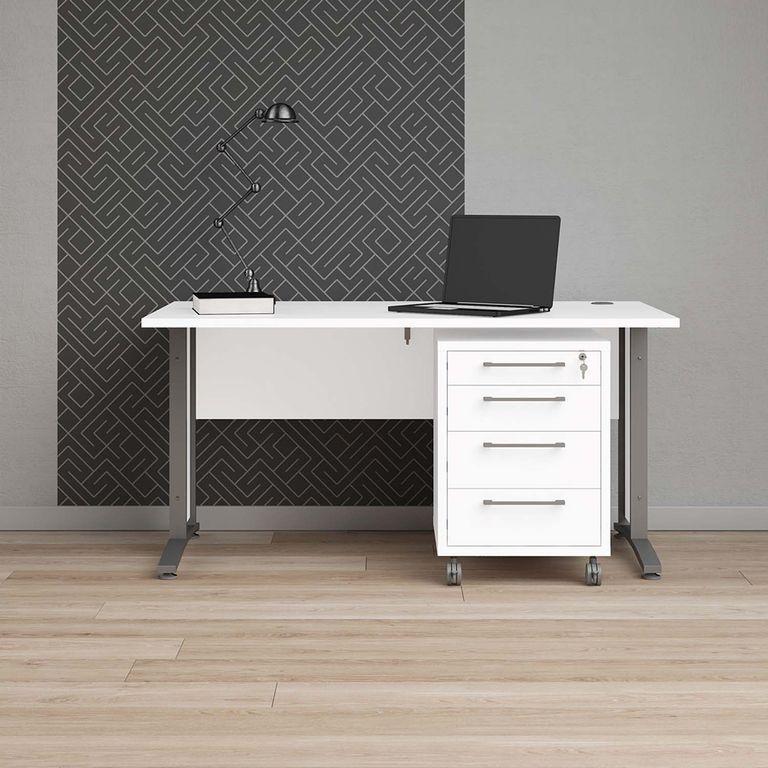 Prima Schreibtisch mit Rollcontainer 150x80cm Weiß