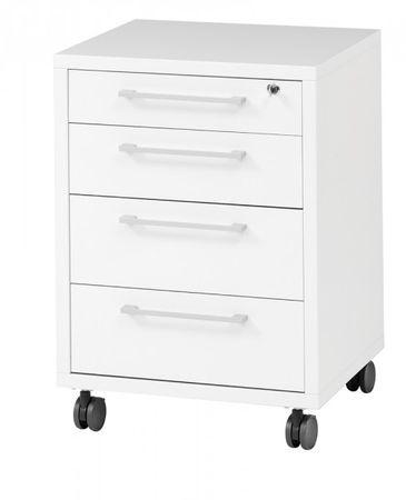 Prima Schreibtisch mit Rollcontainer 150x80cm Weiß – Bild 3