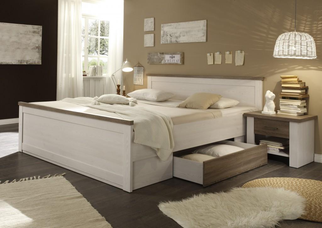 LUCA Bettanlage Bett Schlafzimmerbett + 2 Nachtkästchen Pinie Weiß ...