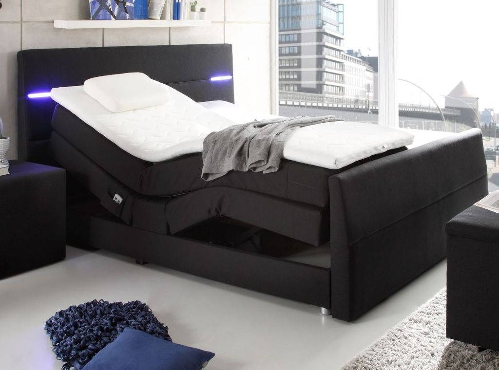 nebraska 3 boxspringbett 180x200cm bett elektrisch verstellbar doppelbett schwar ebay. Black Bedroom Furniture Sets. Home Design Ideas