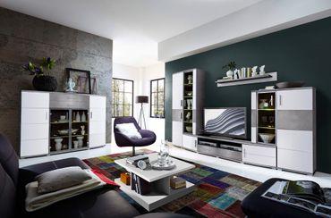 JACKSONVILLE Wohnzimmer Komplettset inkl. LED-Beleuchtung Weiß / Grau – Bild 1