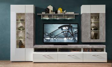 BANGOR Wohnzimmer Komplettset inkl. LED-Beleuchtung Weiß / Grau – Bild 2