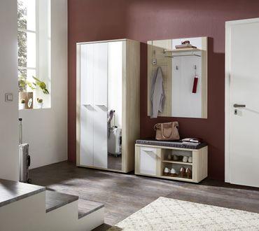ARENDAL 3-tlg. Garderobenkombination Rüster hell / Weiß Hochglanz – Bild 7