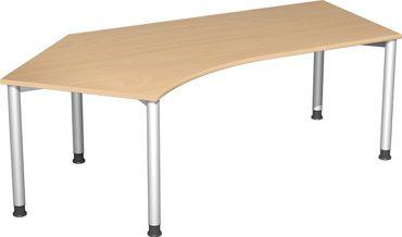 4 Fuß Flex Freiformtisch 135°, höhenverstellbar 216,6 x 80-113 cm, verschiedene Farben – Bild 1