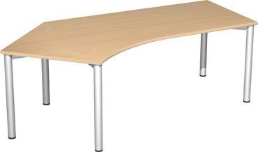 4 Fuß Flex Freiformtisch 135°, 216,6 x 80-113 cm verschiedene Farben – Bild 1