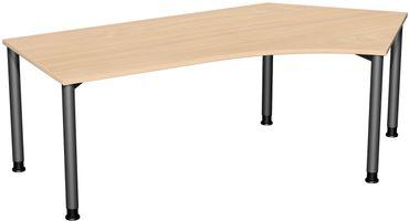 4 Fuß Flex Freiformtisch 135°, höhenverstellbar 216,6 x 80-113 cm, verschiedene Farben – Bild 14