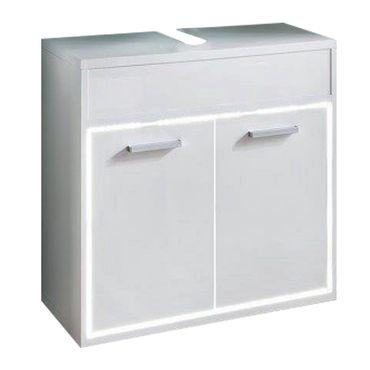 Leicester Waschbeckenunterschrank Badezimmer Hochglanz Weiß  – Bild 1