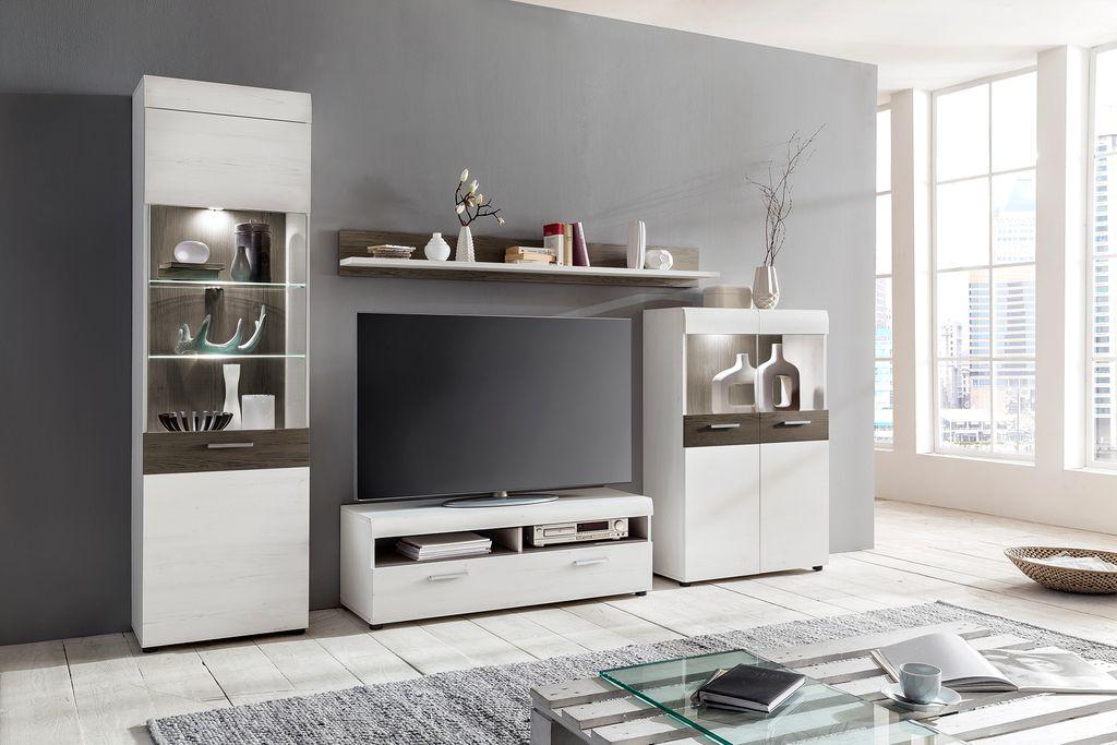 Barry Wohnwand Kiefer Weiß Eiche Dunkel Günstig Möbel Küchen