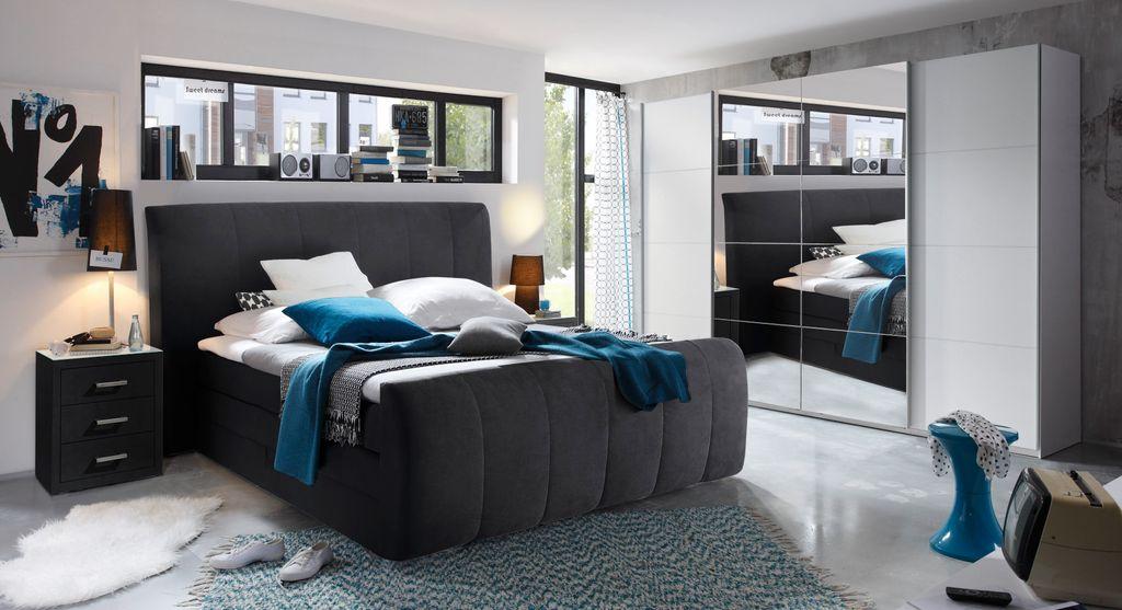 maryland 180x200 cm boxspringbett inkl bettkasten schwarz schlafen betten boxspringbetten 180 x. Black Bedroom Furniture Sets. Home Design Ideas