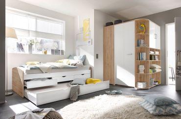 Corner Nessi Jugendzimmer Komplettset Sandeiche / Weiß – Bild 1