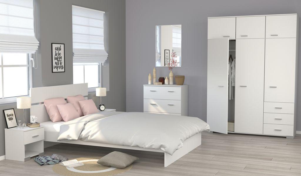 Galaxy 121 - 5-tlg Schlafzimmer Set Weiß | Günstig Möbel, Küchen ...