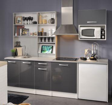 Spoon Natura 2 - Küchenzeile Küchenblock Grau Hochglanz / Grau Hell