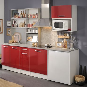 Spoon Natura 3 - Küchenzeile Küchenblock Rot Hochglanz / Grau Hell – Bild 1