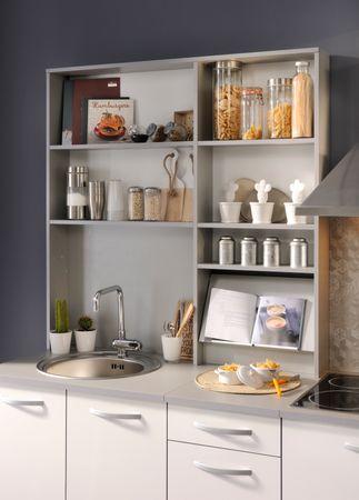 Spoon Natura 3 - Küchenzeile Küchenblock Rot Hochglanz / Grau Hell – Bild 2