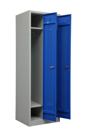 Stahl-Doppelspind 180x59x50 cm Lichtgrau / Blau – Bild 1