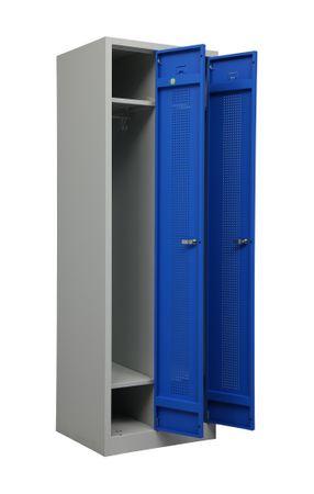 Stahl-Doppelspind 180x59x50 cm Lichtgrau / Blau – Bild 8
