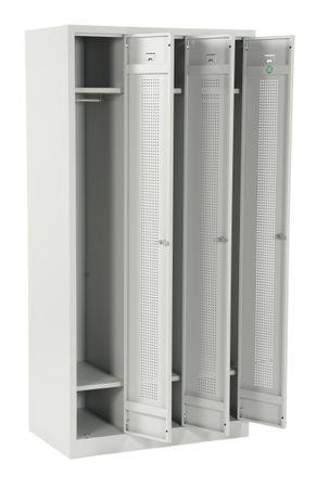 Stahl-Dreierspind 180x87x50 cm Lichtgrau – Bild 10