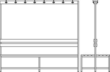 Garderobenbank mit Kleiderleisten, doppelseitig, Holz / Grau – Bild 2