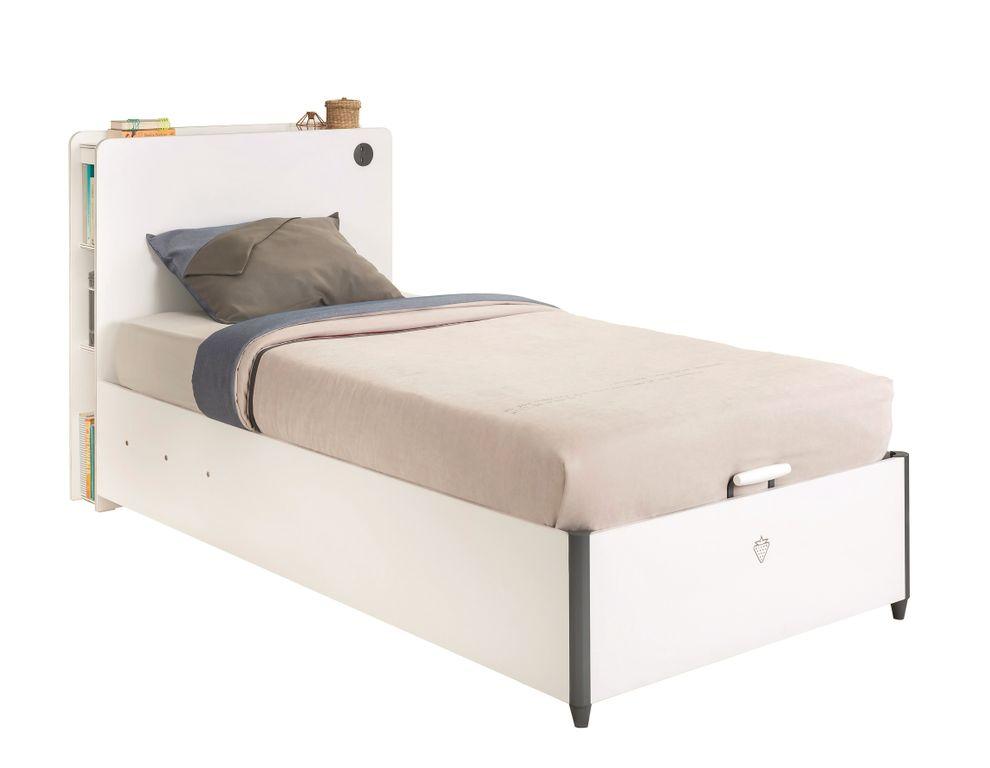 White Bett Mit Kopfteil 100x200 Cm