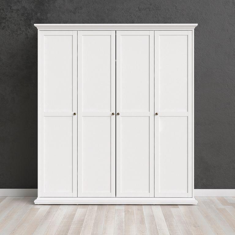 Paris Kleiderschrank 4-türig Weiß