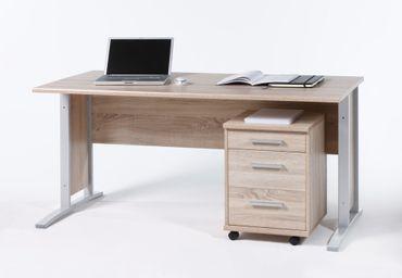 Schreibtisch Office Line mit Rollcontainer Eiche Sonoma