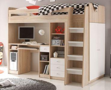 Multifunktionsbett UNIT Etagenbett Kinderbett Bett Kinder Eiche Sonoma – Bild 1