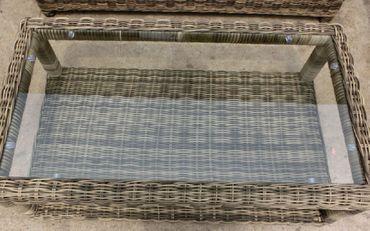4 tlg Garnitur Polyrattan Premont grau braun meliert Gartenmöbel NEU Gartengarnitur Sofa – Bild 3