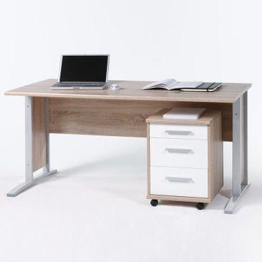Schreibtisch Office Line mit Rollcontainer Eiche Sonoma Front Weiß – Bild 1
