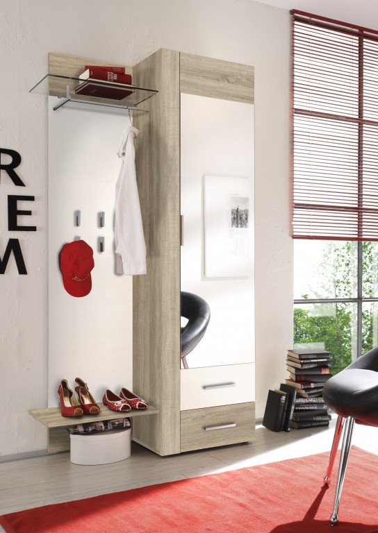 garderobe samba eiche sonoma wei dielenm bel. Black Bedroom Furniture Sets. Home Design Ideas