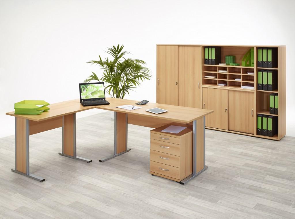Büromöbel schrank  Aktenschrank Schiebetürenschrank Büroschrank 2 OH Schrank Buche ...