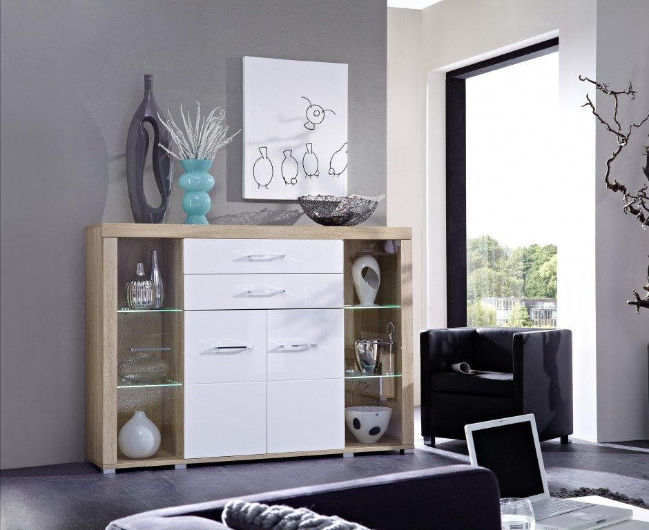 detroit highboard sonoma eiche hell dekor schrank regal kommode sideboard sch ner wohnen. Black Bedroom Furniture Sets. Home Design Ideas
