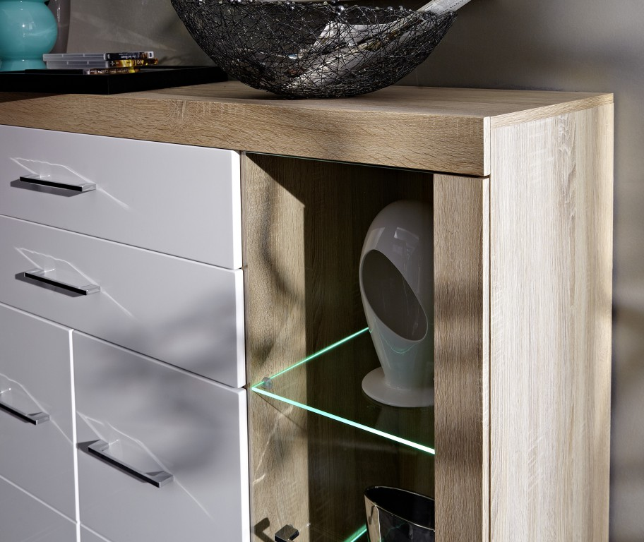 detroit highboard sonoma eiche hell dekor schrank regal. Black Bedroom Furniture Sets. Home Design Ideas