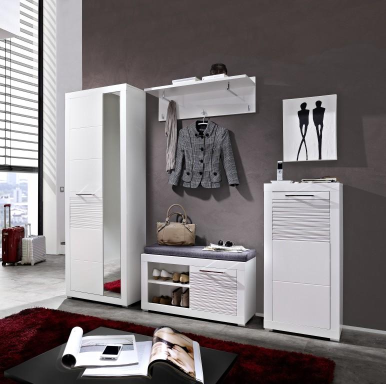 Lyon garderoben kombination garderobe garderobenschrank for Garderobe schuhschrank kombination