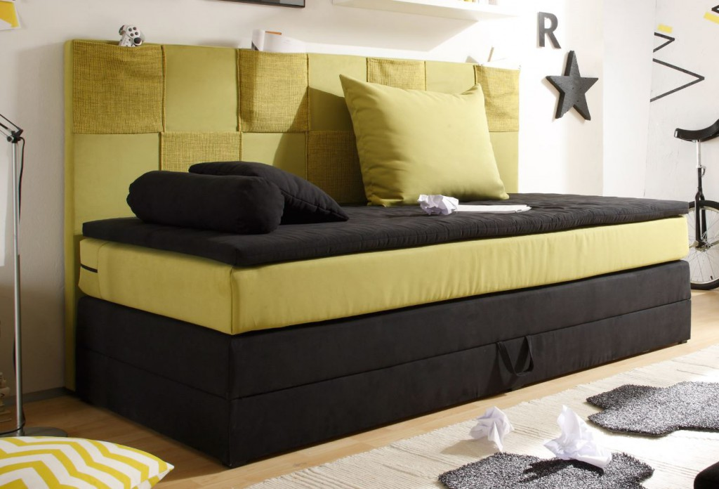 sonderpreis boxspringbett mit bettkasten jugendbett bett kinderbett schwarz gr n sale. Black Bedroom Furniture Sets. Home Design Ideas