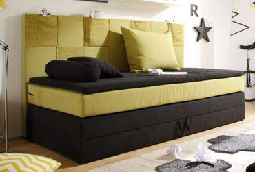 *SONDERPREIS* Boxspringbett mit Bettkasten Jugendbett Bett Kinderbett Schwarz/Grün – Bild 1