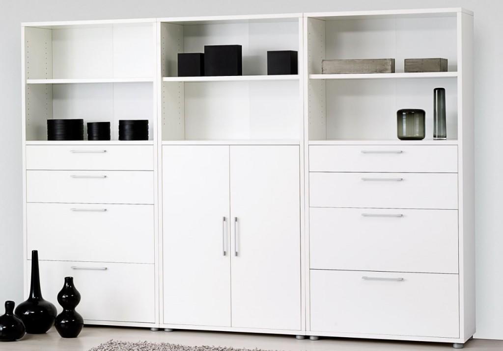 Büroschrank weiß  Prima Schrankwand 5 OH Weiß Büro Büroschränke Schrankwände 5 Ordnerhöhen