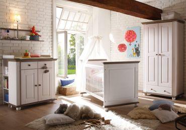 Laura Babyzimmer Kinderzimmer Babymöbel Wickelkommode Babybett Kiefer massiv – Bild 1