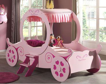 Kutschenbett Royal Princess Kate Kinderbett Bett Rosa – Bild 1