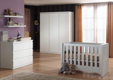 Babyzimmer Set Lara Babybett Wickelkommode  Weiß  – Bild 1