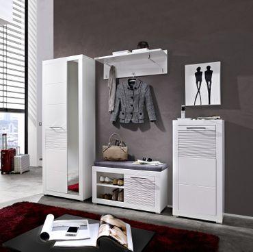 LYON Garderobenschrank Schrank Hochschrank Dielenschrank Garderobe Weiß Hochglanz – Bild 2