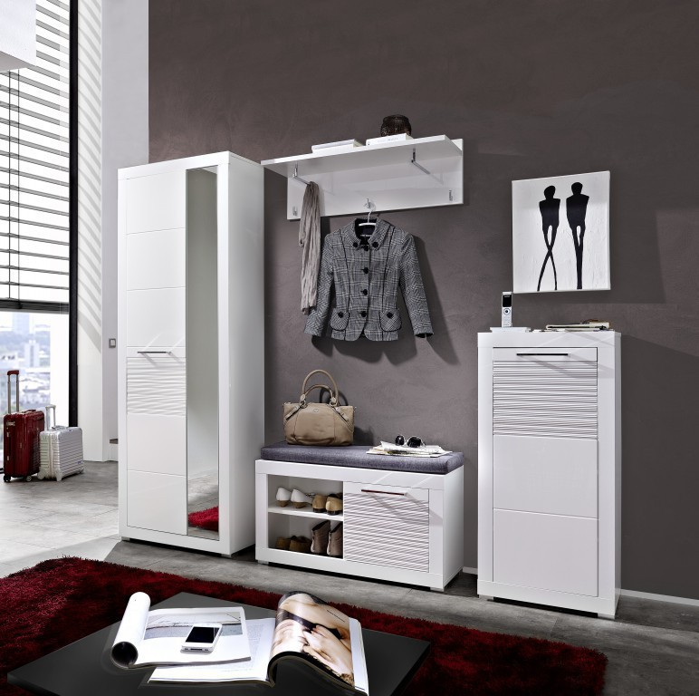 LIFE Garderobenpaneel Paneel Kleiderhaken Garderobe Weiß Hochglanz