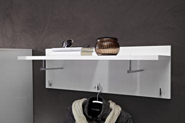 LYON Garderobenpaneel Paneel Kleiderhaken Garderobe Weiß Hochglanz – Bild 1